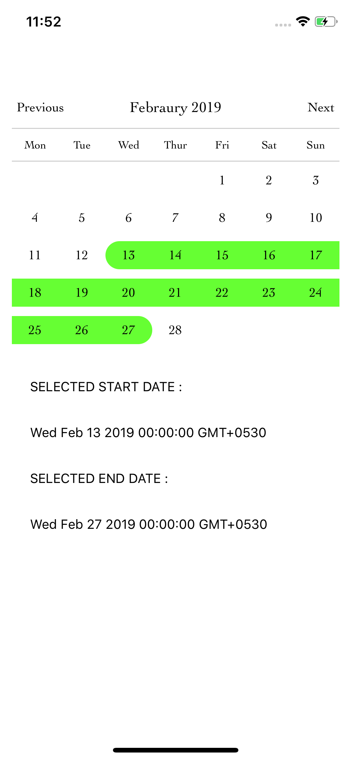 Example Showing the Working of Calendar Picker in React Native