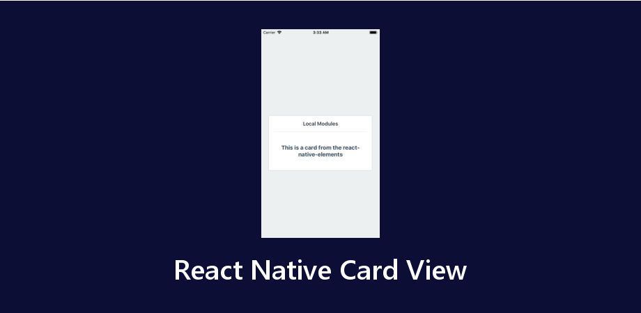 React Native Card View for Android and IOS