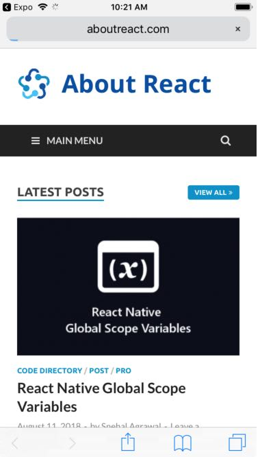 React Native Show Progress bar While Loading WebView - About React