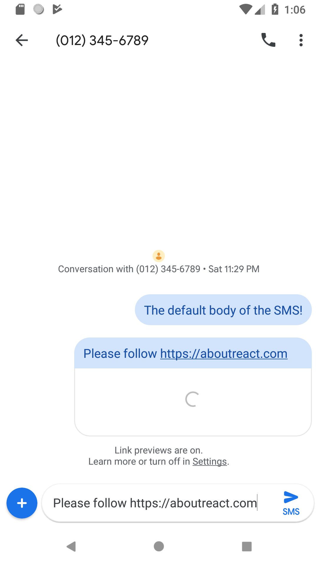 Example to Send Text SMS on Button Click in React Native - About React