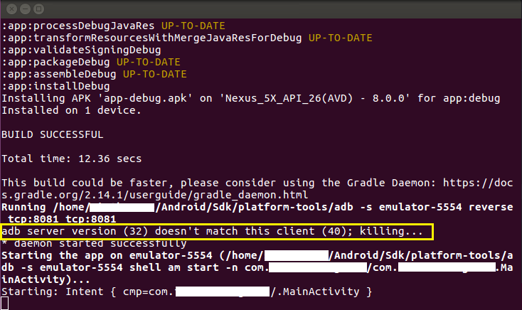 adb server version mismatch react-native run-android
