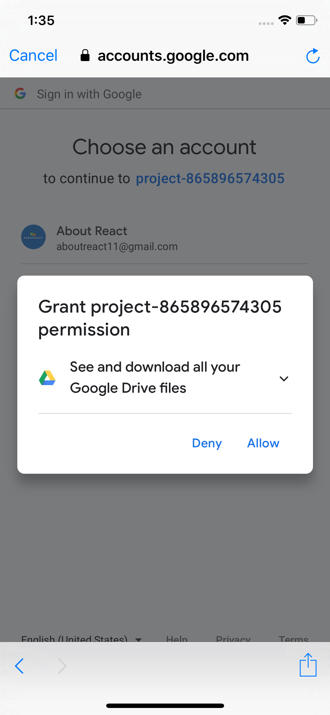 Example of Google Sign In in React Native Android and iOS App