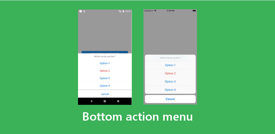 React Native Bottom Action Menu