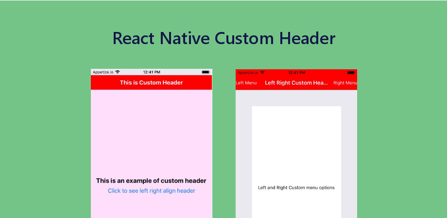 React Navigation Header Customization in RN using Navigation Options