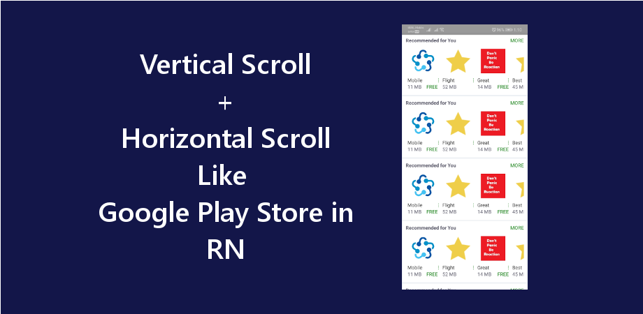 Vertical and Horizontal Scroll View Like Google Play Store in React Native