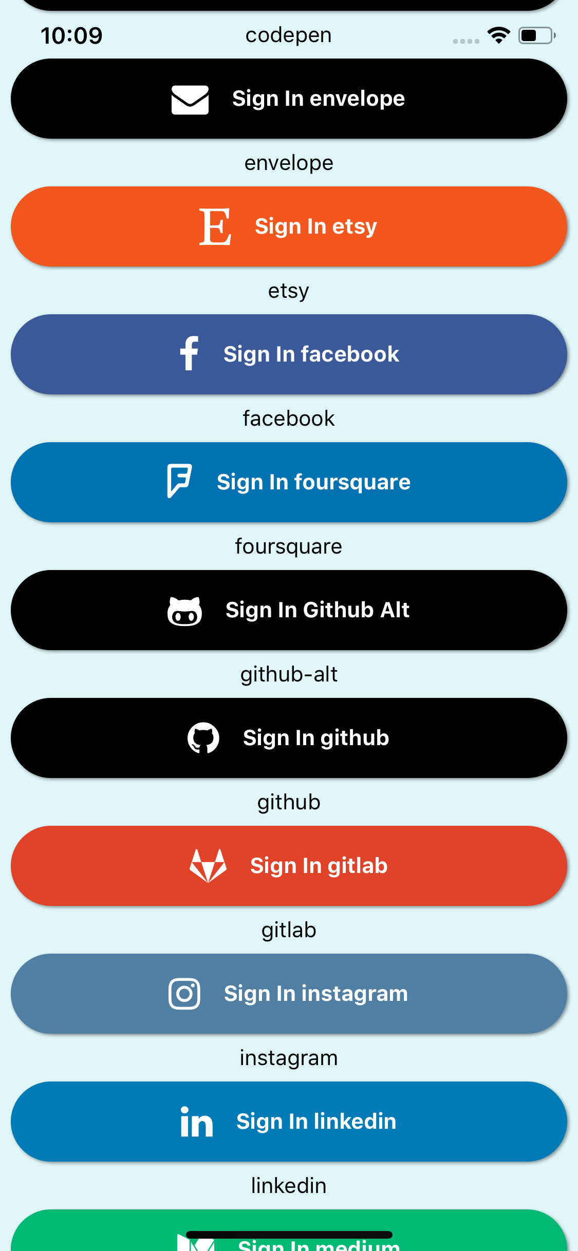 Example of Social Icons using React Native Elements - About