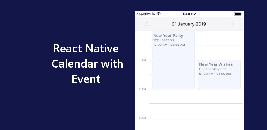 Example of Calendar with Events Listed in React Native