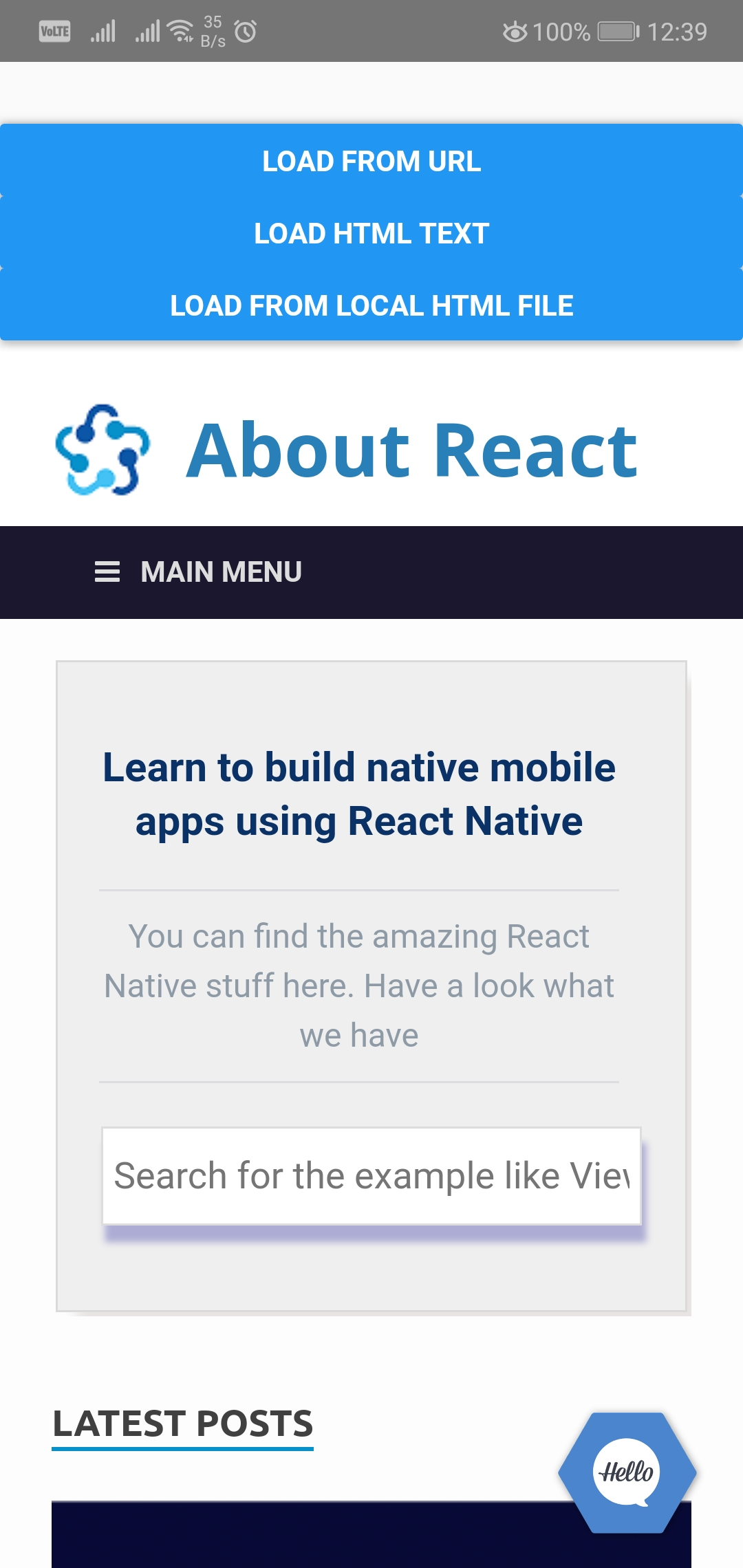 Load Local HTML File or URL in React Native using react-native-webview
