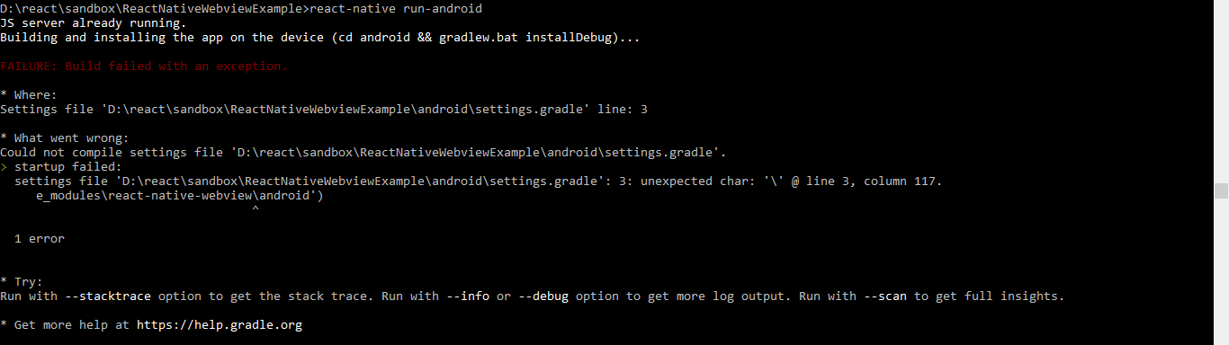Could not Compile Settings File project/android/settings.gradle
