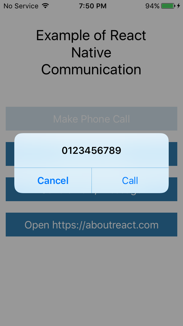 Make Phone Call, Send SMS or Email Using React Native Communication
