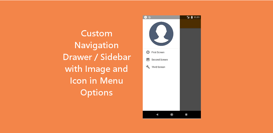 Custom Navigation Drawer / Sidebar with Image and Icon in Menu