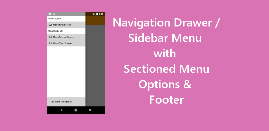 Navigation Drawer / Sidebar Menu with Sectioned Menu Options & Footer
