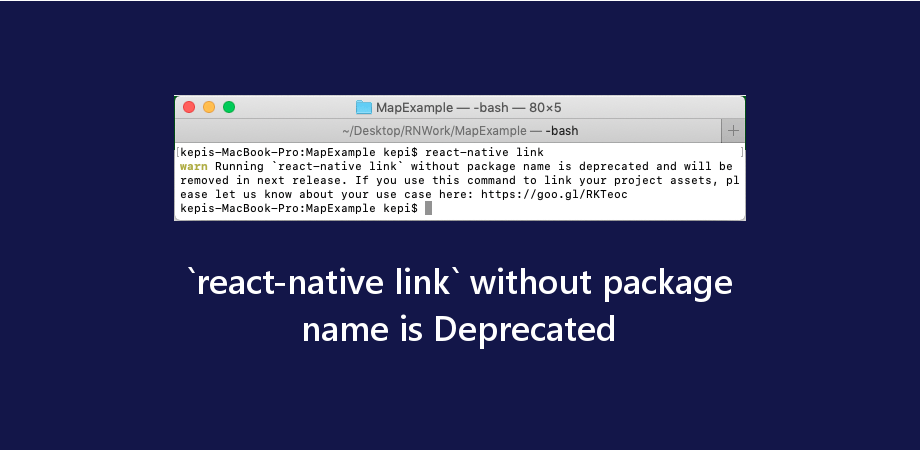 `react-native link` without package name is Deprecated