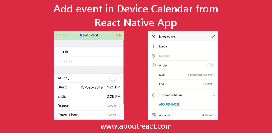 Add Event in Device's Calendar from React Native App for Android and iOS